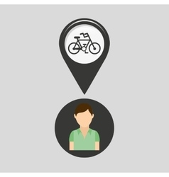 Bicycle road pin location man design vector