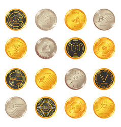 big set of crypto currency logo coin vector image
