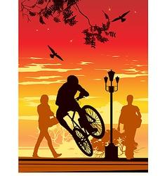 bike ride in park vector image