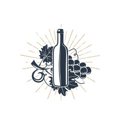 Black wine bottle and vine with sunbursts for vector