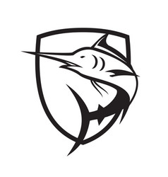 Blue marlin jumping crest black and white vector