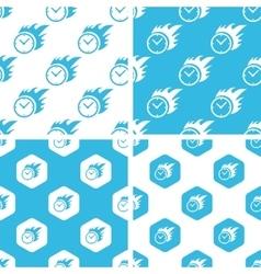 Burning clock patterns set vector