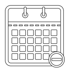 calendar with minus icon outline style vector image