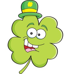 Cartoon shamrock wearing a derby hat vector image