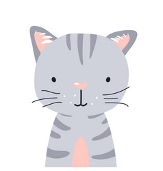 Cat cute animal baby face vector