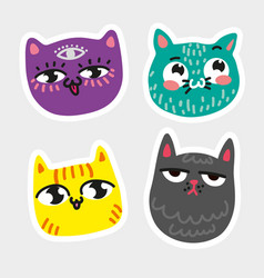 Cat icon collection quad colorful isolated cat vector