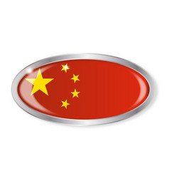 China flag oval button vector