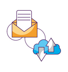 cloud computing email message upload download data vector image