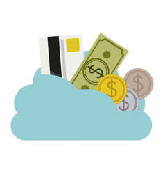 Cloud in cumulus shape with elements investment vector