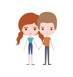 Colorful caricature thin couple in clothes of man vector