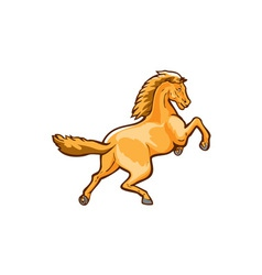 Colt horse prancing rear isolated retro vector