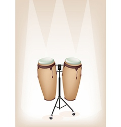 Congas with stand on brown stage background vector