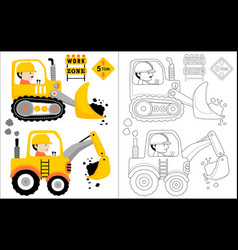 constrcution vehicle cartoon with driver coloring vector image