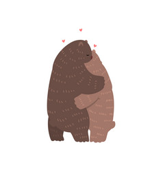 couple cute bears in love embracing each other vector image