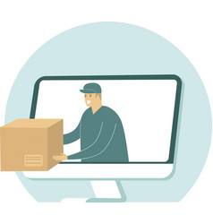 courier give cardboard box from computer monitor vector image