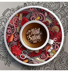 Cup of coffee Nail salon doodles on a saucer vector