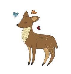 Cute little baby deer cartoon hand drawn vector