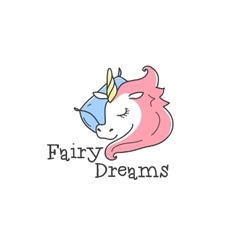 cute logo Cartoon sleeping unicorn vector image