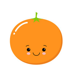 cute mandarin isolated on white cartoon style vector image