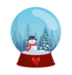 cute snowman christmas sphere vector image