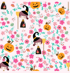 cute witch girl in flower seamless pattern cartoon vector image