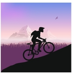 Cyclist in rough road Bicycle racing go to the vector
