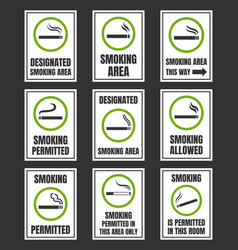 Designated smoking area smoking permitted sign vector
