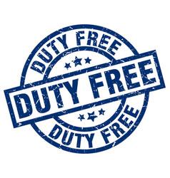 Duty free blue round grunge stamp vector