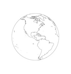earth globe wireframe focused on america vector image