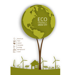 Ecology concept with green eco earth vector