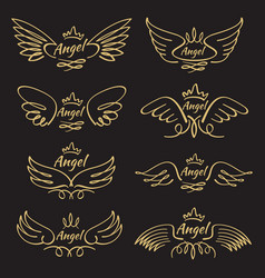 Elegant angel golden flying wings on black vector