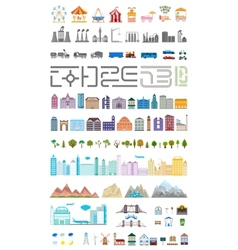Elements of the modern big city or village vector image