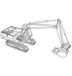 Excavator technical wire-frame rendering vector