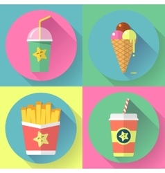 Fast food colorful flat design icons set template vector
