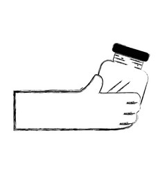 Figure hand with crystal jar to save things vector