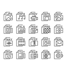 file format type outline icons set vector image