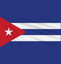 Flag cuba swaying in the wind realistic vector