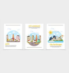 Flat city landscape vertical banners vector