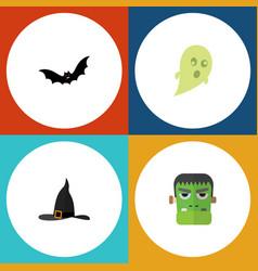 Flat icon halloween set of phantom witch cap vector