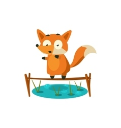 Fox Crossing The Pond vector