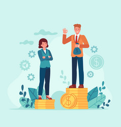 Gender salary gap business man and woman standing vector