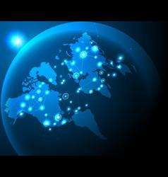 global worldwide cyber wireless internet line vector image