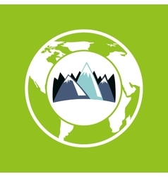 globe environment mountains care icon graphic vector image