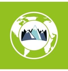 Globe environment mountains care icon graphic vector