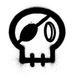 Graffiti skull with an eye patch sprayed in black vector