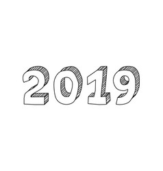 hand drawn isometric lettering 2019 year on white vector image