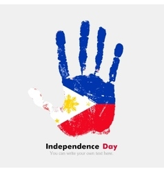 Handprint with flag of the Philippines in grunge vector image