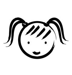 Happy girl drawn isolated icon design vector