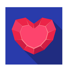 heart-shaped gemstone icon in flat style isolated vector image