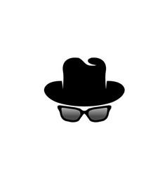 Inspector hat and glasses logo design vector